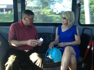 La Visa Mayor Doug Kindig and Omaha Mayor Jean Stothert riding the bus to a news conference Thursday morning.